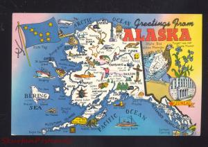 GREETINGS FROM ALASKA STATE MAP VINTAGE POSTCARD