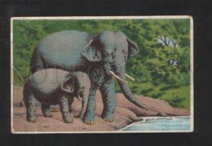 072813 Charming ELEPHANT Family Vintage JAPAN PC