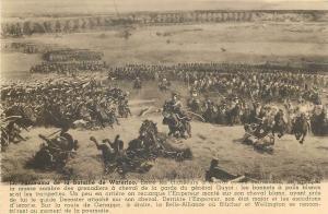 Waterloo battle scene postcard entre les chasseurs a cheval
