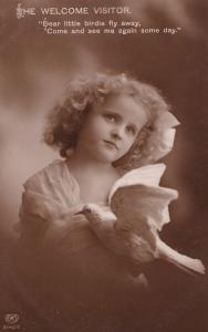 Welcome Visitor Child Pigeon Holding Bird Dove Antique Real Photo Postcard