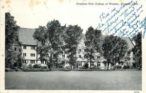 Wooster Ohio~Douglass Hall College Of Wooster~Men's Dorm~1946 Postcard