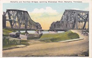 MEMPHIS , Tennessee, 30-40s ; Memphis & Harrihan Bridges, Mississippi River