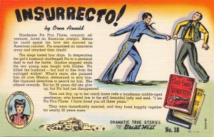 DRAMATIC TRUE STORIES~GREAT WEST-OREN ARNOLD POSTCARD 1940s #18 INSURRECTO!