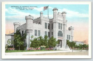 Joliet Illinois~State Prison~Entrance to Women's Building~Flowers in Front~1940s