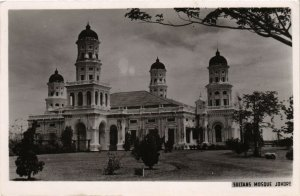 PC CPA MALAYSIA, JOHORE, SULTANS MOSQUE, VINTAGE REAL PHOTO POSTCARD (b4065)