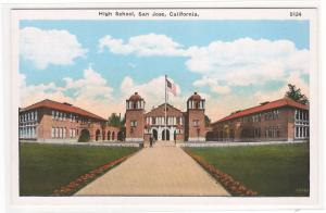 High School San Jose California 1920c postcard