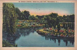 Rhode Island Providence Sunken Gardens Roger Williams Park 1942