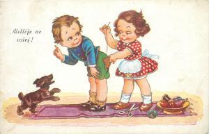 children comic postcard 1940s Hungary girl sew boy pantaloons dog bite humour