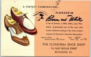 Vintage Richmond, Virginia Advertising Postcard FLORSHEIM SHOE SHOP 1940 Linen