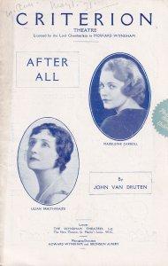After All Lilian Braithwaite Drama Criterion Theatre Programme
