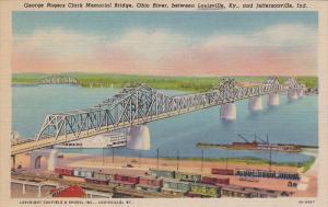 George Rogers Clark Memorial Bridge, Ohio River, between Louisville, Kentucky...