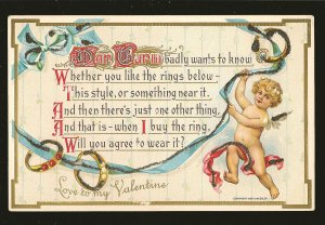 Coptright 1909 H Wessler Embossed Ornate Valentine Postcard Unposted