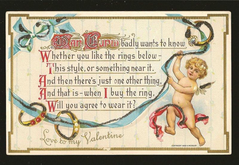 Coptright 1909 H Wessler Embossed Ornate Valentine Postcard Unposted