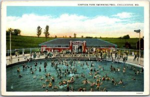Chillicothe, Missouri Postcard Simpson Park Swimming Pool Bathing c1940s