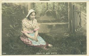 France, Woman sitting, Pour le Bon Motif, early 1900s unused
