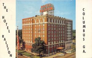 Columbus Georgia~Ralston Hotel~50s Cars & Truck Parked~American Flag~Postcard