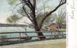 Lakewood New Jersey~Lake Carasaljo Boat House~Boat Under Tree in Foreground~1907