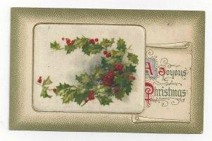 JOHN WINSCH, 1900-10s; CHRISTMAS, Silk insert, Holly