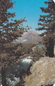 Scenic View of  Bow Falls, Banff Springs Hotel, Mount Norquay in Background, ...