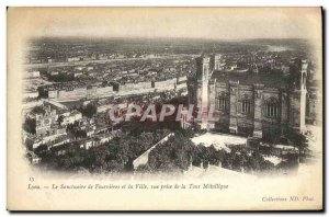 Old Postcard The Shrine of Fourviere Lyon and the City of view prsie Metallic...