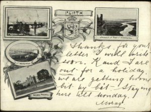 Perth Australia Used 1900 Postcard Multi View Bridges & Scone Palace