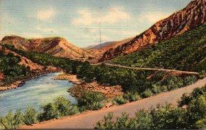 New Mexico Rio Grande Canyon 1949 Curteich