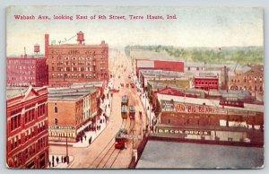 Terre Haute Indiana~Wabash Avenue Saloon TH Beer~Big Bear~Cox Drugs~Trolley~1909