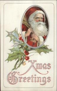 Christmas - Santa Claus w/ Sack Over Shoulder c1910 Postcard EXC COND