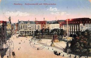 Hamburg Rathausmarkt mit Alsterarkaden Denkmal Monument Statue Tram