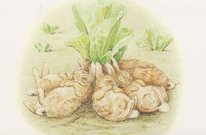 The Tale Of The Flopsy Bunnies Overeating 1909 Beatrix Potter Postcard