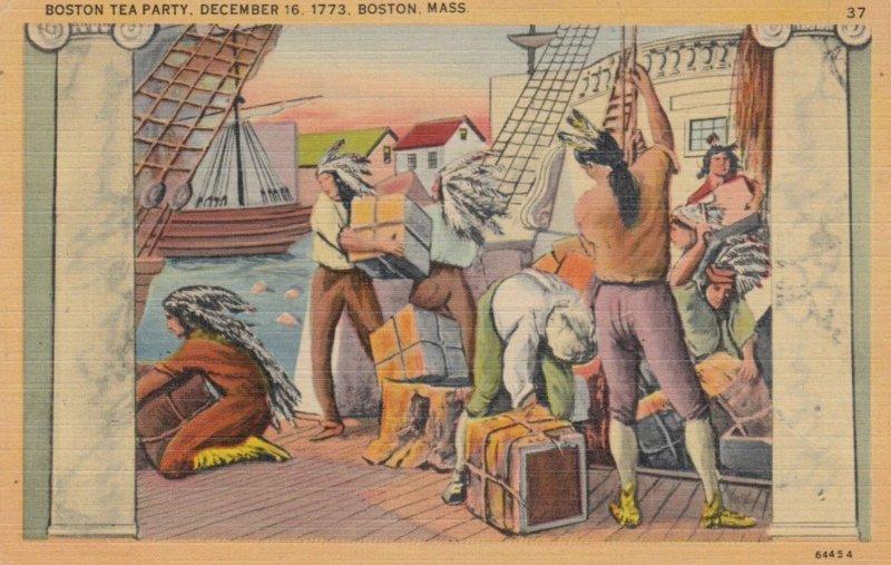 BOSTON, Massachusetts, 1930-40s; Boston Tea Party (Indians), December 16, 1773