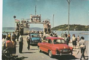 Car Ferry , Port at SZANTOD , Hungary , 1940-50s