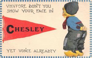 Chesley ON Vhyfore Don't You Show Your Face Yet Vonce Alreadty~Pennant c1915