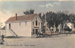 West Kennebunk ME Post Office Depot Square Horse & Wagon Postcard