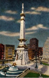 Indiana Indianapolis Soldiers and Sailors Monument At Night 1944