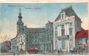 Poland Warschau Warsaw Rathaus Ratusz Town Hall City Hall vintage tram carriages