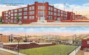 Butte Montana~Art Deco High School~Football Stadium~Playing Field~1950 Linen PC