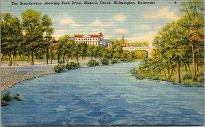Vtg 1940s Brandywine Park Drive Historic Creek Wilmington Delaware DE Postcard