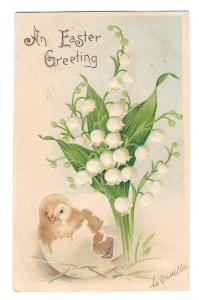 Easter Greeting Chick Lily of the Valley 1907 Embossed B W Germany UDB Postcard