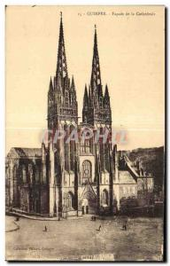 Old Postcard Quimper Facade of the Cathedral