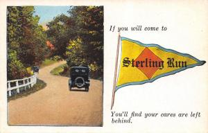 Leave Your Cares Behind in Sterling Run Pennsylvania~1920s Car~Pennant PC