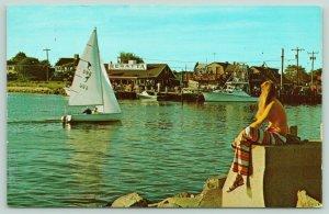 Cape Cod Massachusetts~Falmouth Harbor~Sailboat~Girl~ Restaurant~Dock~1970s