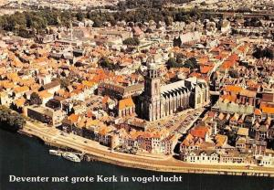 Netherlands Deventer met Grote Kerk in Vogelvlucht, Eglise Church Boats Panorama