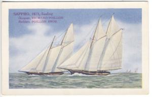 Third Race For America's Cup Defenders Varnished w/Smiths Spars Postcard