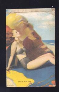 VINTAGE RISQUE SEXY PINUP GIRL MUTOSCOPE CARD AND THE WIND BLEW SWIMSUIT