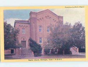 Unused Pre-1980 CHURCH SCENE Harlington Texas TX G3008