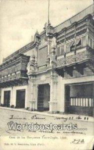 Casa de los Marqueses, Torre-Tagle Lima, Peru 1911 Missing Stamp