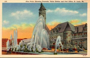 Misouri St Louis Aloe Plaza Showing Fountain Union Station & Post Office Curt...