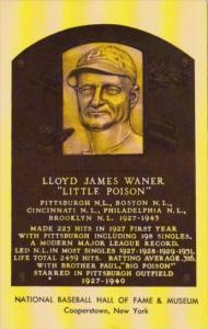 Lloyd James Waner National Baseball Hall Of Fame & Museum Cooperstown New York