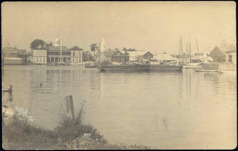 british honduras, BELIZE, Panorama from the Water (1910s) Frank Read RPPC (2)